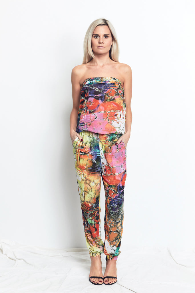 STRAPLESS MAXI JUMPSUIT / Bright MARBLE PRINT