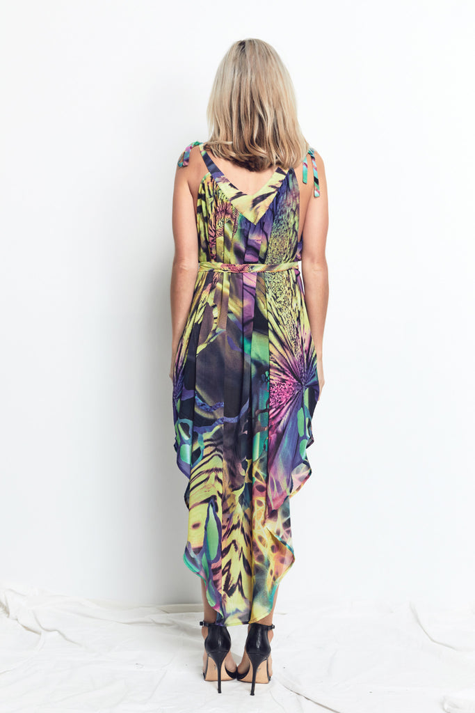 V NECK TIE DRESS / VIVID