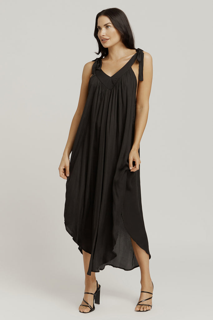 V NECK TIE DRESS / BLACK