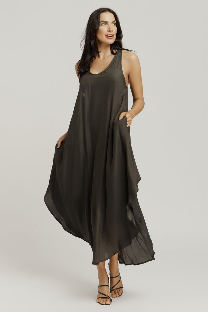 T BAR BACK DRESS / sage green/ Dresses