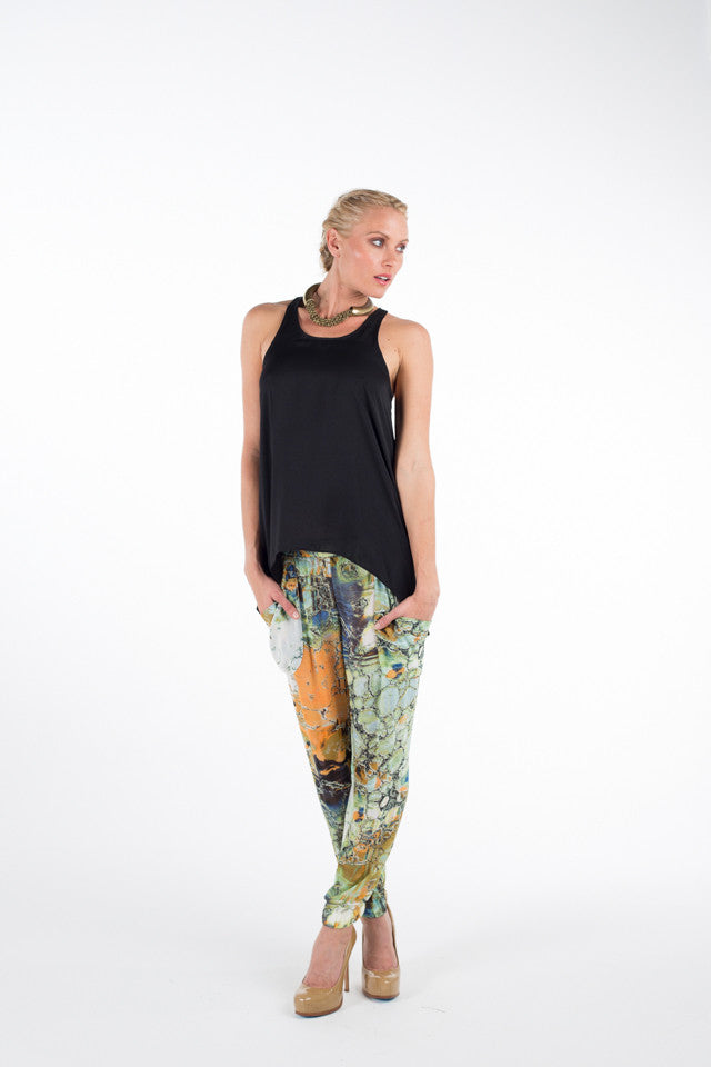 SLOUCHY PANTS / Earthy Marble Print