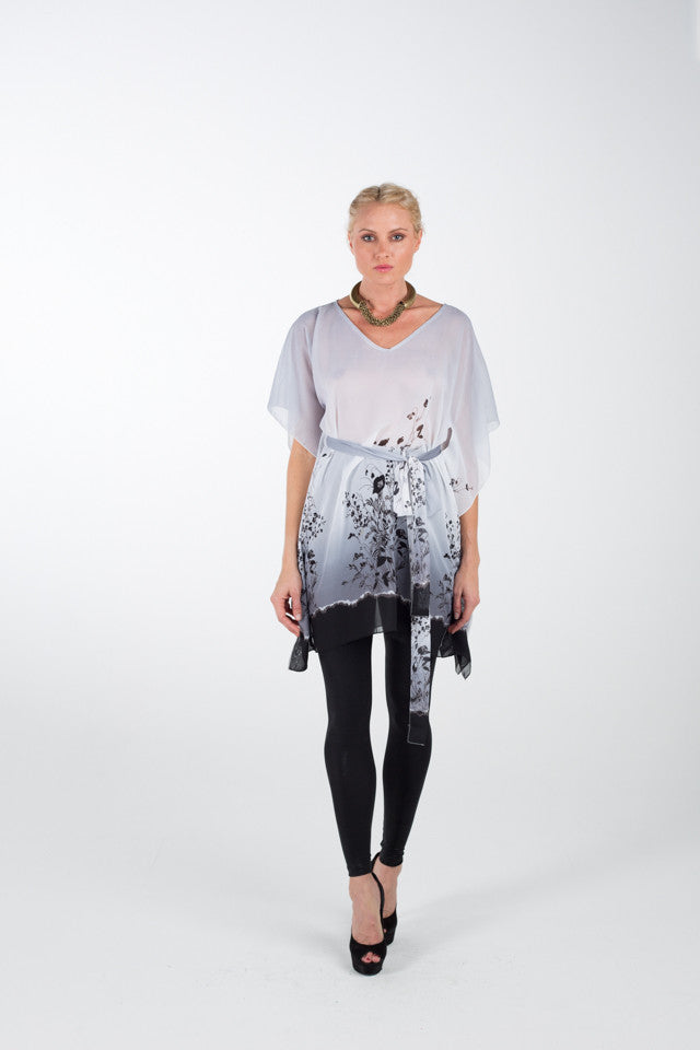 SHORT KAFTANS / Black / White Lola Print