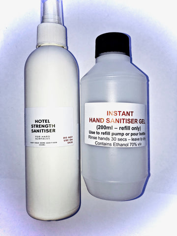 SANITISER SURVIVAL PACK #3 - Hand Sanitiser (250ml - refill) & Hotel Disinfectant (250ml). IN STOCK! Fast shipping.