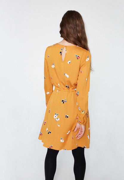 Derya Fall Flowers Dress (Gold Yellow) - ARMEDANGELS