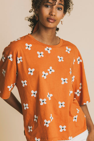 Flowers Terracotta T-Shirt - Thinking MU