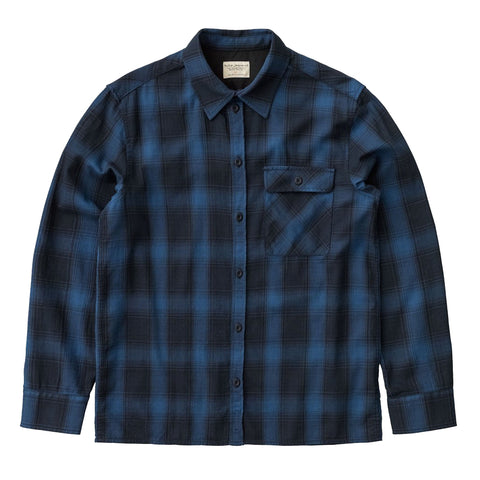 Sten Shadow Check Shirt (Navy) - Nudie Jeans