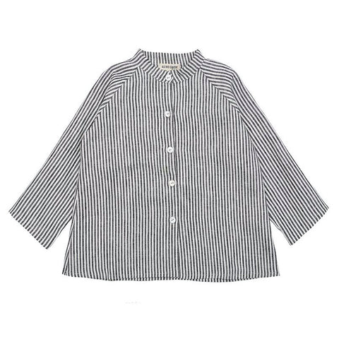 Collarless Linen Shirt (Grey Striped) - AS WE GROW