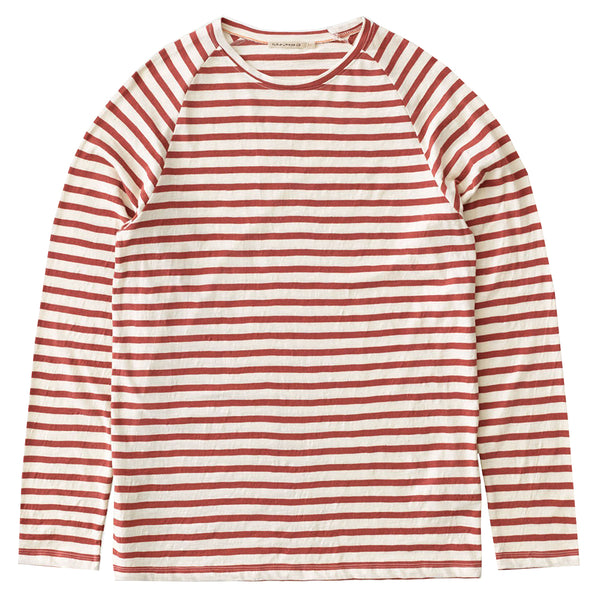 Otto Breton Stripe (Egg/Dusty Red) - Nudie Jeans