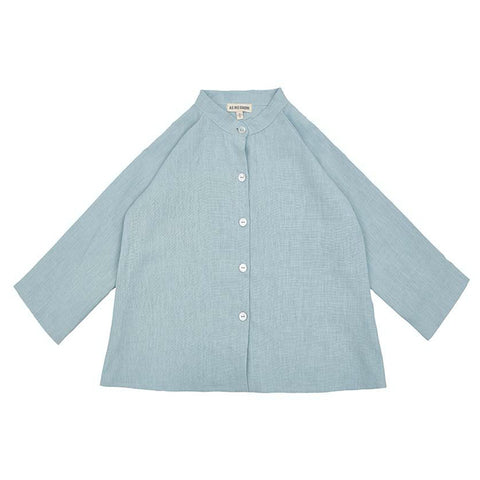 Collarless Linen Shirt (Sage) - AS WE GROW