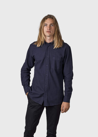 Benjamin Flannel Shirt (Navy) - Klitmøller Collective