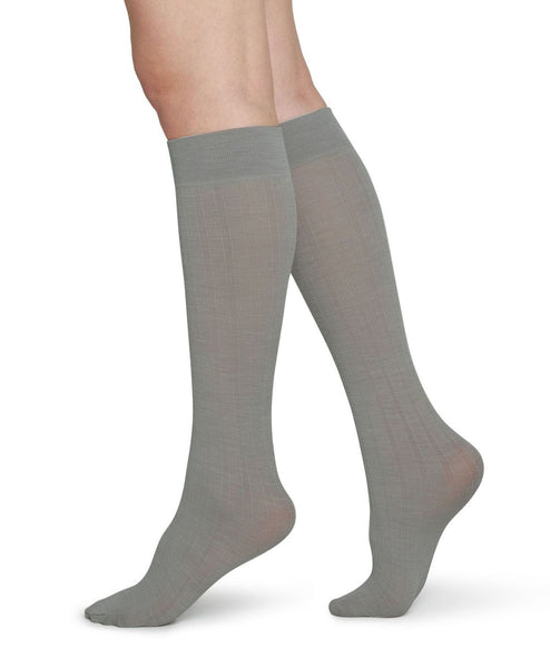 Freja Bio Wool Knee-Hights (Light Grey) - Swedish Stockings