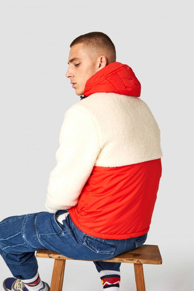 Kazan Anorak Jacket (Red/Off White Sherpa) - Kings Of Indigo
