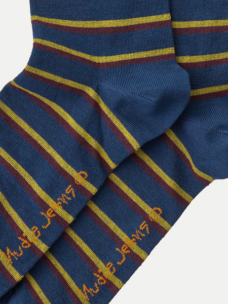 Olsson Micro Stripe Socks Odeon Blue - Nudie Jeans