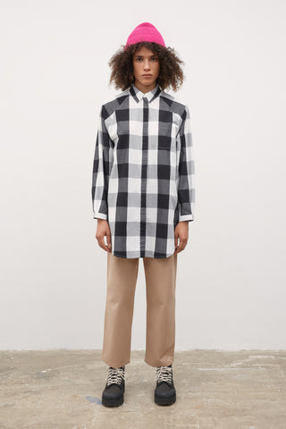 Oversized Shirt (Black & White Check) - Kowtow