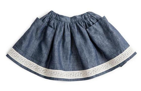 Pocket Skirt (Blue Linen) - As We Grow