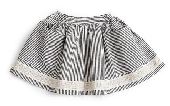 Pocket Skirt (Striped Linen) - As we Grow