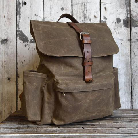 The Rogue waxed canvas backpack from Peg and Awl