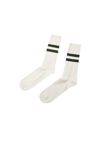 Retro Cotton Sock (Cream/Olive) - Klitmøller Collective