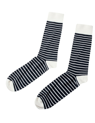 Sailor Cotton Sock (Cream / Navy) - Klitmøller Collective
