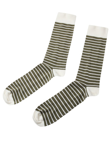 Sailor Cotton Sock (Cream / Pale Green) - Klitmøller Collective