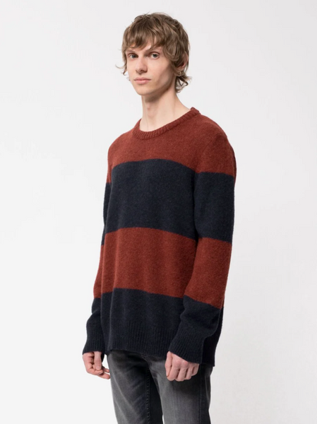 Hampus Alpaca Block Stripe (Navy) - Nudie Jeans
