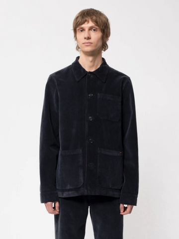 Barney Worker Jacket Cord (Navy) - Nudie Jeans