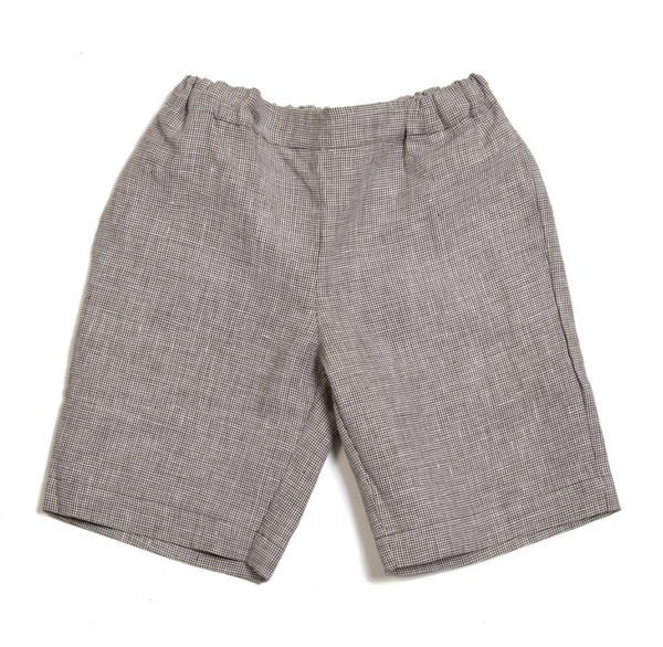 Emil Shorts (Blue Denim / Checked Linen) - As We Grow