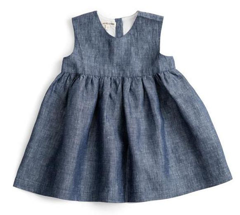 Sleeveless Dress (Blue Linen) - As We Grow