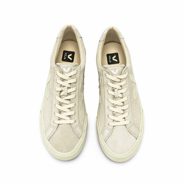 Esplar Low Logo Suede Natural Pierre - VEJA Shoes