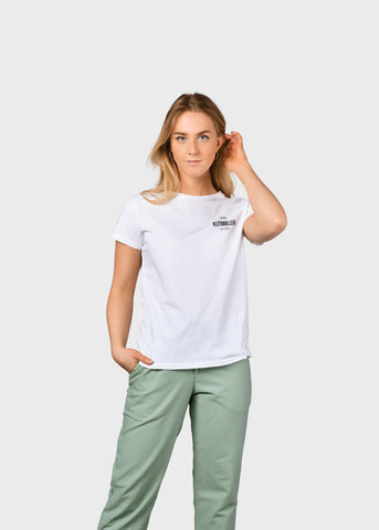 Womens Small Logo Tee (White) - Klitmøller Collective