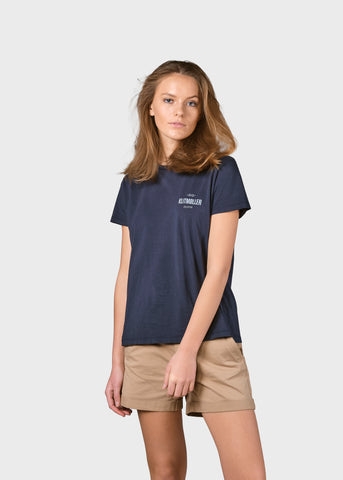 Womens Small Logo Tee (Navy) - Klitmøller Collective