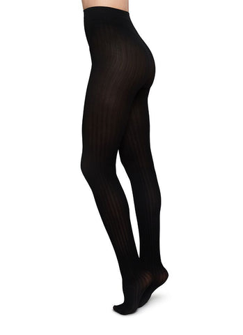 Alma Rib Tights (Black) - Swedish Stockings