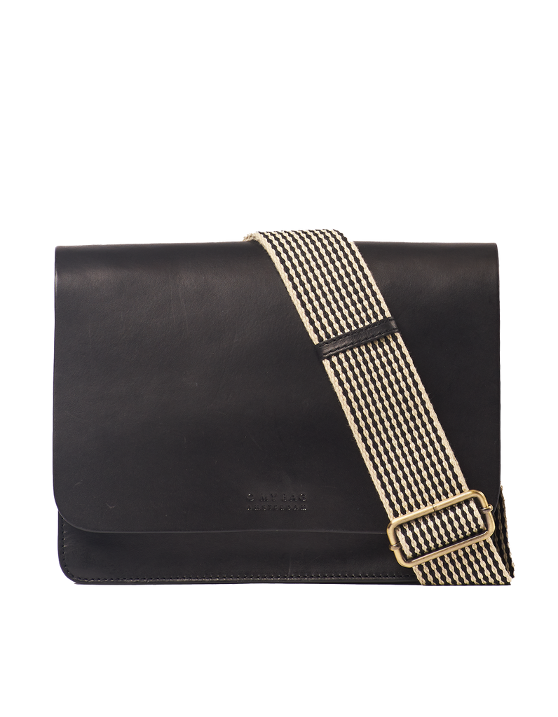 Audrey Black Leather Checkered Strap - O MY BAG