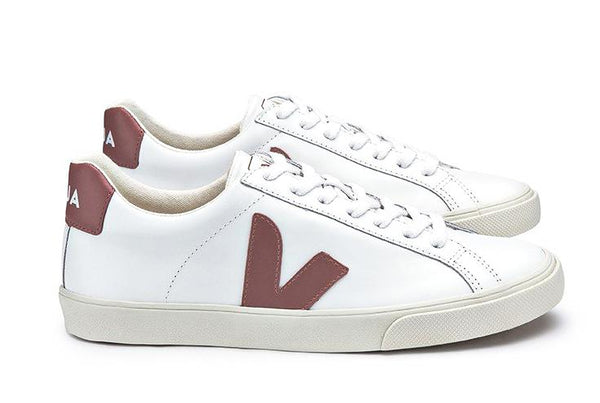 Esplar Low Leather Extra White Dried Petal - VEJA Shoes