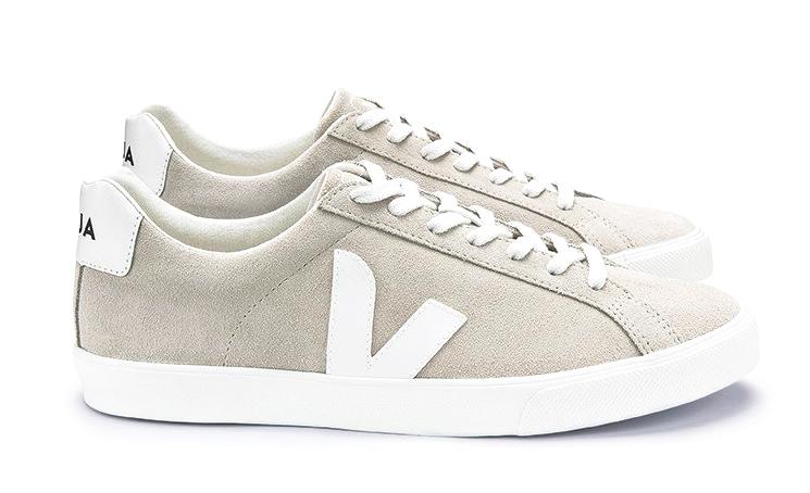 Esplar Low Logo Suede Natural White - VEJA Shoes