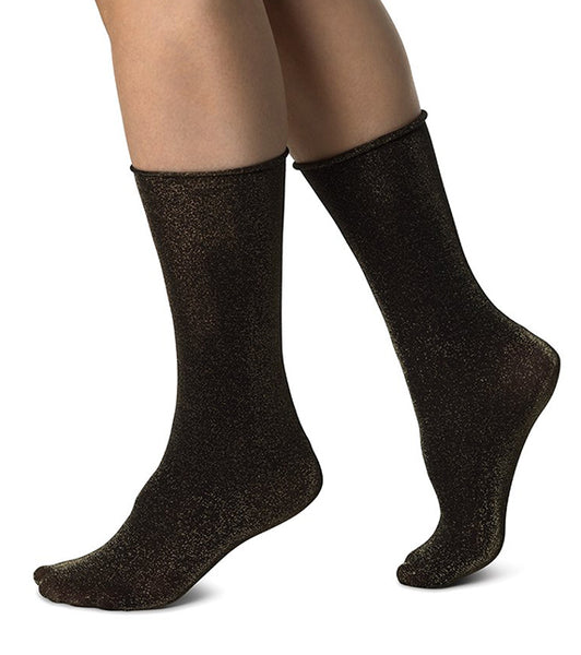 Lisa Lurex Socks Gift Box (Black/Gold Glitter + Black/Silver Glitter) - Swedish Stockings
