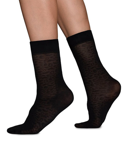 Emma Leopard Socks (Black) - Swedish Stockings