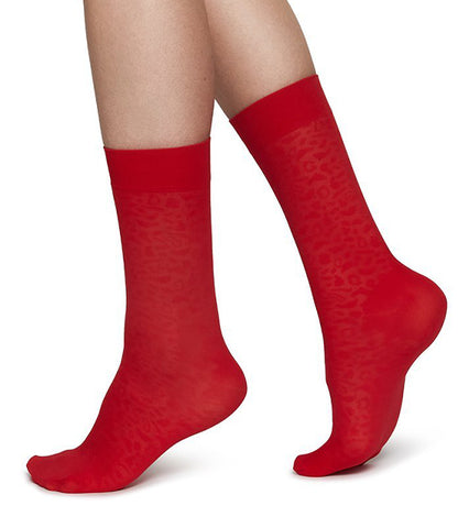 Emma Leopard Socks (Sharp Red) - Swedish Stockings