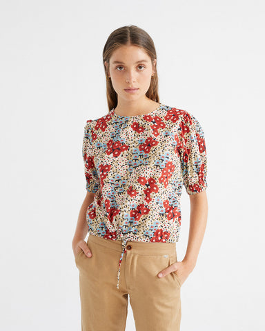 Small Flowers Iris Blouse - Thinking MU