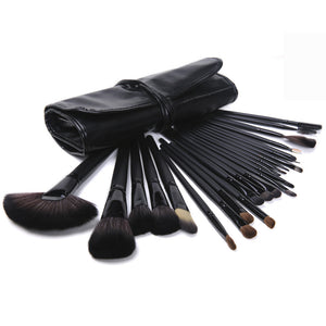 24 Piece Makeup Brush Set | Premium Jet Black