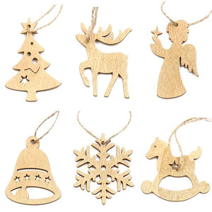 12 PCS Wood Christmas Decorations