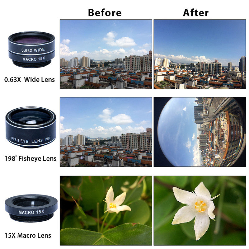 Apexel Optic Lens 198 Fisheye | Camera Lens for Samsung iPhone Xiaomi DG5 - Foenix Direct
