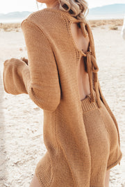Brown Tie-Back Knitted Set