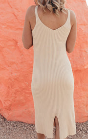 Cream Knitted Midi Dress