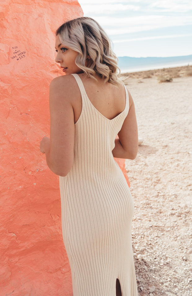 Cream Knitted Ribbed Midi Dress