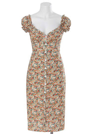 Vintage Print Button Through Midi Dress