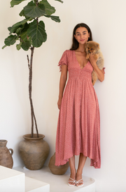 Sweet Floral Tie-Back Midi Dress