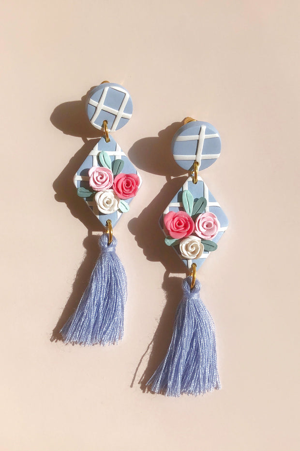 Handmade Clay Blue Petals Earrings