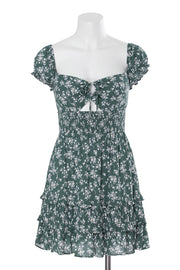 Green Floral Smocked Waist Short Dress