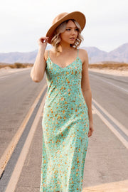 Green Floral Tie-Back Midi Dress